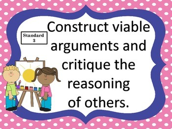 Standards for Mathematical Practice--posters and anchor charts--kids