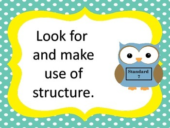 Standards for Mathematical Practice--posters and anchor charts-- owl theme