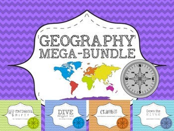 Standards Aligned Geography Bundle- Oceans, Continents, Ri