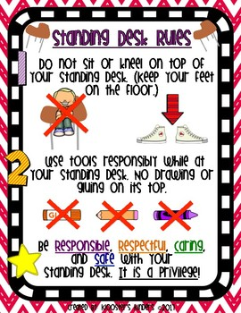 Standing Desk Rules Poster - Flexible Alternative Seating