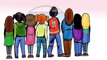 Standing Elementary Students with Backs Turned -28 pc. Clip-Art