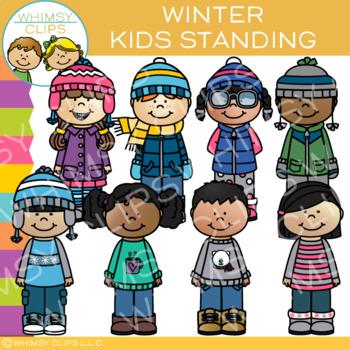 Standing Kids Winter Clip Art