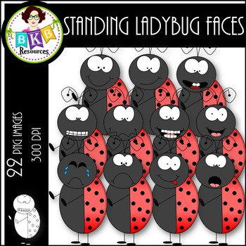 Standing Ladybug Faces ● Clip Art ● Products for TpT Sellers