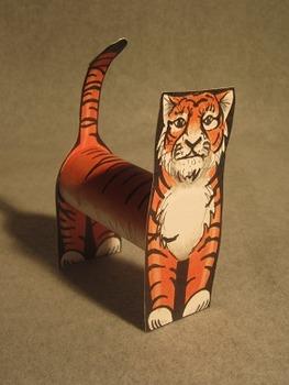 Standing Tube Tiger Mascot. Fun 3D Craft Art