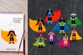 Standing superhero body clip art - boys and girls