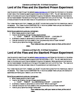 Stanford Prison Experiment and Lord of the Flies Comparison Assignment