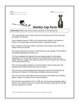 Stanley Cup Fun Facts Handout For Discussion And Reading Practice