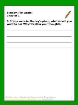 Stanley Flat Again Reading Comprehension Questions