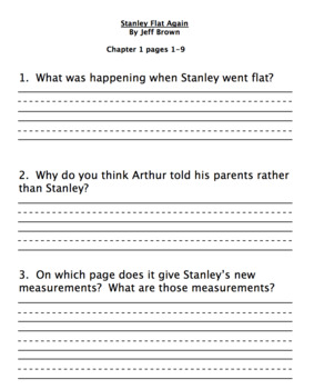 Stanley, Flat Again Reading Comprehension Questions