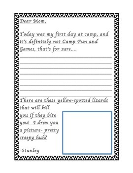 Stanley Yelnats Letter-Writing Template (Louis Sachar's Holes Activity)