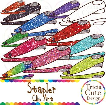 Stapler School Supplies Clip Art Glitter