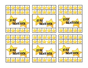 Star Behavior Punch Card