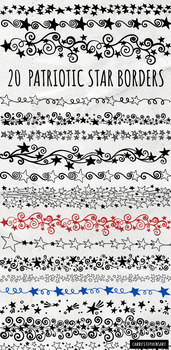 Star Border ClipArt, Patriotic Star Doodle Line Art, Fourth of July 4th American