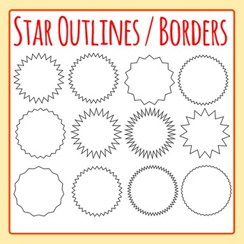Star Borders or Sticker Outlines Clip Art Set for Commercial Use