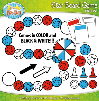 Star Build A Board Game Clip Art Set — Over 20 Colorful Graphics
