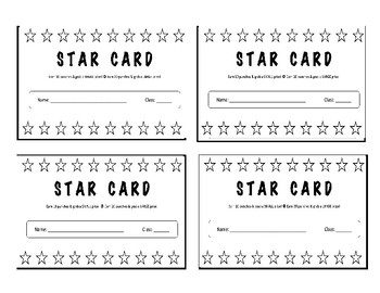 Star Cards - Positive Behavioral Incentive