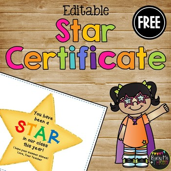 Star Certificate for End of the Year, Award for Students {Add Starburst}