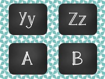 Star Chalkboard Word Wall Alphabet Heading Set