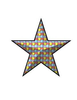 Star Clip Art and Borders - Autism Awareness Stars Included