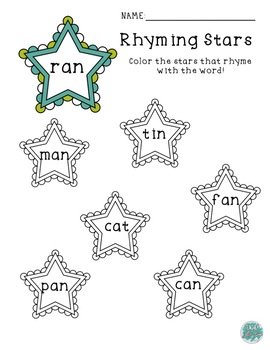 Star Coloring Rhyme Worksheets (5)