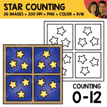 Star Counting Scene Clipart
