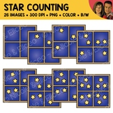 Star Window Counting Scene Clipart