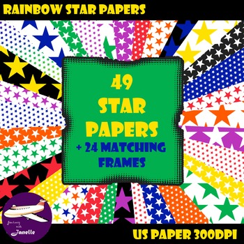 Star Digital Papers and Matching Frames for Work Books, Cover Pages and Sellers