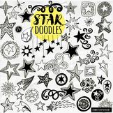 Star Doodle ClipArt Graphic, Superhero Theme, Classroom Jo