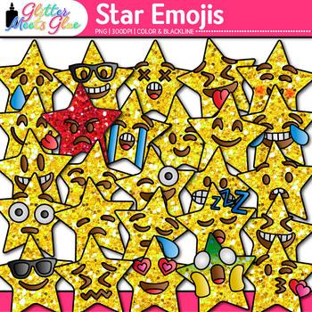 Star Emoji Clip Art {Emoticons and Smiley Faces for Brag Tags & Classroom Decor}
