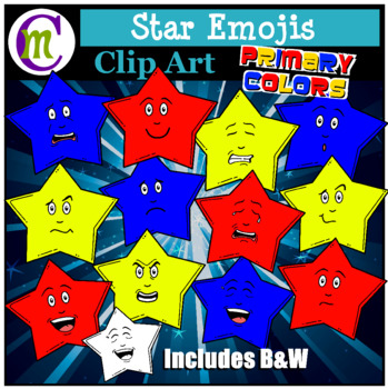 Star Emojis Clipart Primary Colors