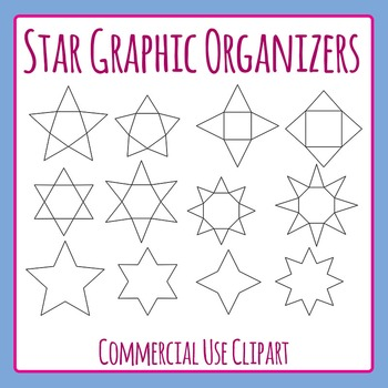 Star Graphic Organizer Templates / Charts / Diagrams Clip Art Set Commercial Use