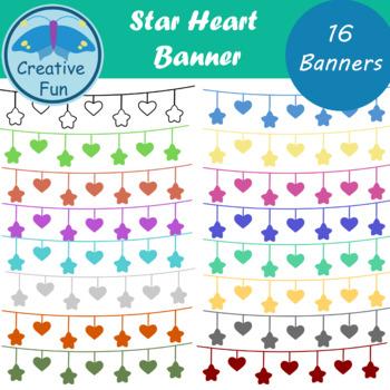 Star Heart Banner Clipart