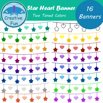 Star Heart Banner Clipart: Two Toned