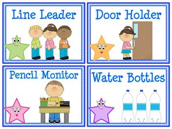 Star Helpers Classroom Jobs Display & Clip Chart