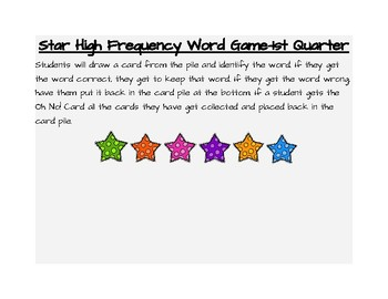 Star High Frequency Word Game-1st Quarter