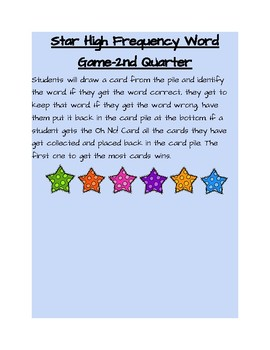 Star High Frequency Word Game-2nd Quarter