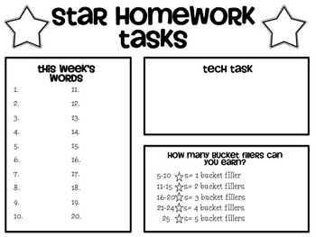 Star Homework Log FREEBIE--Universal Homework System