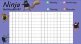 Star Homework Weekly  Tracking Graph for Smartboard (Ninja Theme)