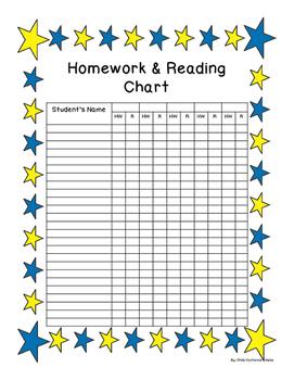 Homework Reading Teacher Tracking Chart with Award Certificates Blue/Yellow Star