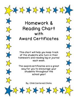 Homework Reading Teacher Tracking Chart with Award Certifi