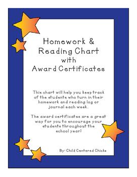 Homework Reading Teacher Tracking Chart w/ Award Certificates Yellow Star w Blue