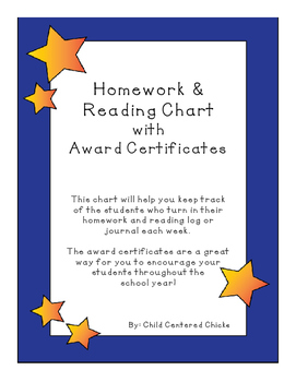 Homework Reading Teacher Tracking Chart w/ Award Certifica