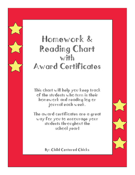 Homework and Reading Teacher Tracking Chart with Award Certificates Star