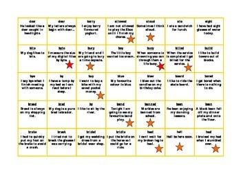 Star Homophone Spelling Board Game