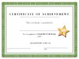 Star Honor Roll Certificate