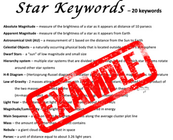 Star Keywords Assessment/Quiz - Bonus Enhanced Font (24+ font) 504/IEP friendly