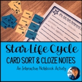 Star Life Cycle Card Sort & Cloze Notes