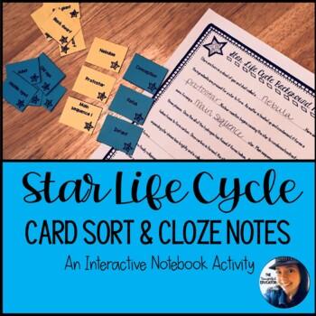 Star Life Cycle Card Sort & Cloze Notes