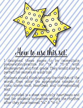 Star Light Star Bright Coloring/Dictation Page (ta & ti-ti prep & practice)