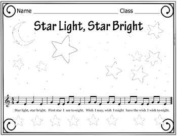Star Light, Star Bright Folk Song Coloring and Puzzle Activity